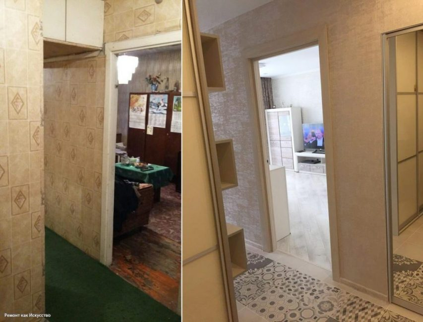 У входа повесили большое зеркало в полный ост. Теперь очень удобно одеваться по утрам. Слева поставили шкаф.