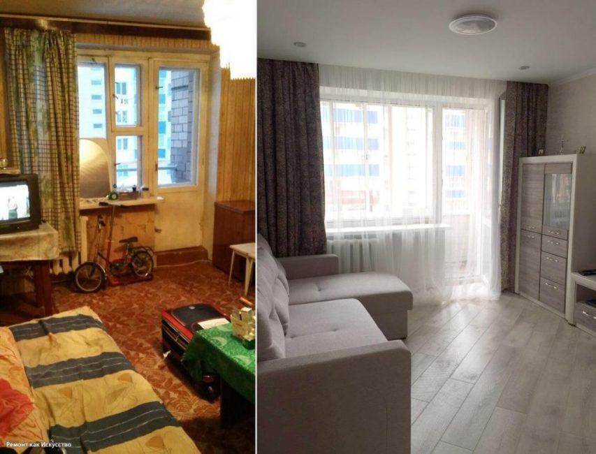 Гостиная получилась очень романтичной. Подобрали красивые шторы и тюль на окна. Поставили угловой диванчик и новую мебель. А ламинат уложили наискосок.