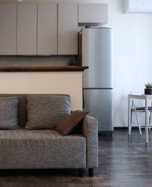 Квартира сделана в виде студии. Зону отдыха и кухню разделяет барная стойка. Сразу за ней стоит серый диван.