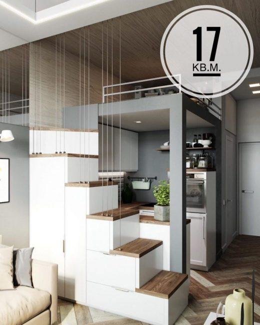 Высокие потолки позволили сделать квартиру двухуровневой.
