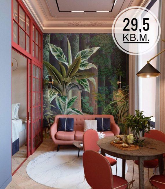 Столовую и кухню вынесли на лоджию. Из нее сделали яркие тропики. На одной из стен наклеили реалистичные фотообои с изображением тропического леса.