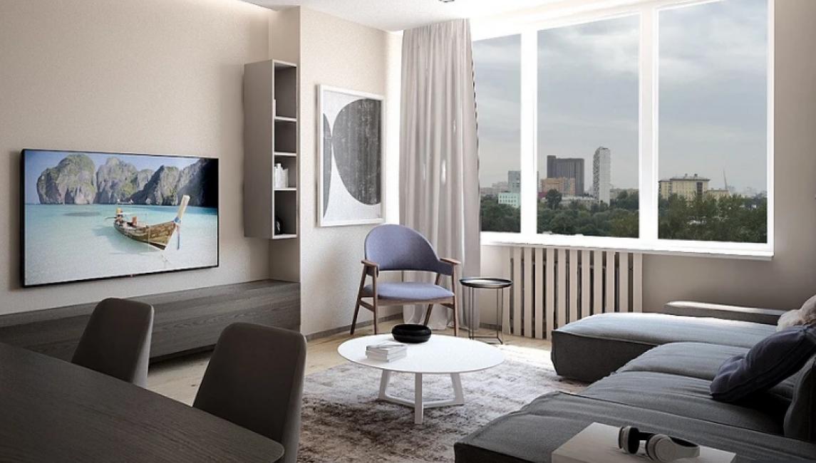 Зона отдыха — это большой и удобный диван серого практичного цвета с моющейся обивкой. Напротив расположилась огромная плазма, висящая на стене.