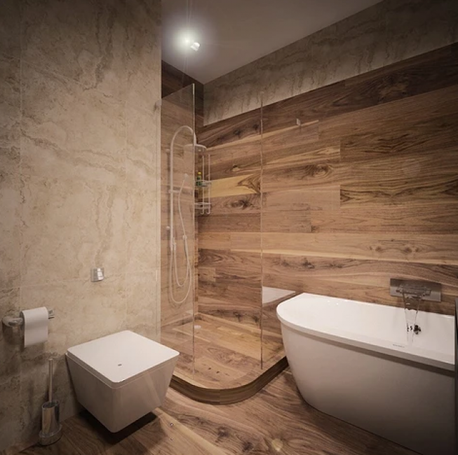 Практически вся мебель в доме авторская, сделанная из ДСП и MDF со шпоном. В ванной поставили купель и душевую кабину, а также подвесной унитаз квадратной формы.