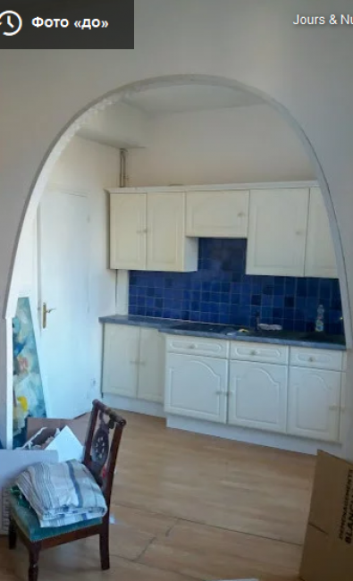 До ремонта кухня не отличалась выразительностью. Единственное, что в ней было привлекательного — это качественный старинный паркет и высокие потолки.