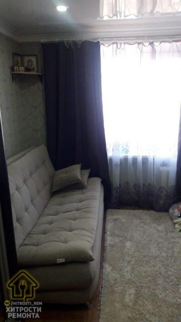 На капитальный ремонт средств не хватило, поэтому пришлось ограничиться косметическим. Переклеили обои, переделали потолок, закупили новую мебель и технику.