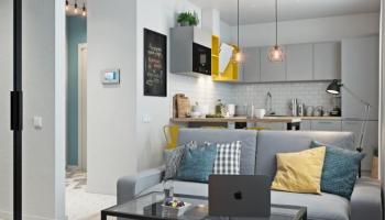 В квартире на 34 кв.м. сделали стильный и современный ремонт с яркими акцентами ?