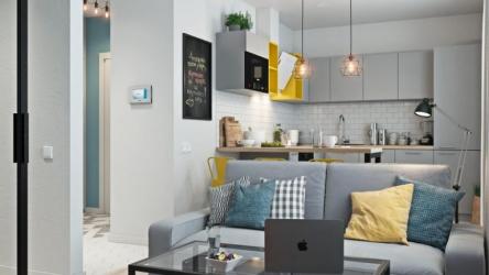 В квартире на 34 кв.м. сделали стильный и современный ремонт с яркими акцентами 👍