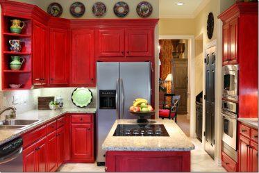 Магия цвета, который влияет на наше восприятие интерьера: Дизайн Красной кухни в ярких тонах (115+ Фото)