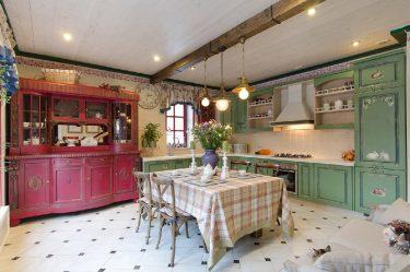 Дизайн красивых Кухонь в стиле Прованс: 240+ Фото Современных Оформлений (стены, потолок, шторы)