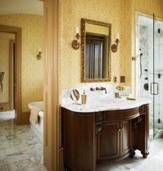 Какими обоями лучше поклеить ванную комнату?  Жидкие, виниловые, моющие, влагостойкие — выбираем самые практичные (115+ Фото)