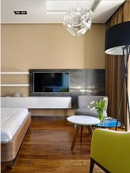 Полка для телевизора на стену (295+ Фото): Нюансы оформления (навесная, угловая, стеклянная)