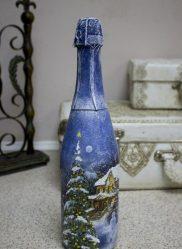 Декупаж бутылок на Новый год (170+ Фото). Украшения своими руками. Новые идеи и мастер-классы