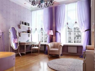 Обои сиреневого цвета в дизайне гостиной, спальни и других комнатах. Удачные комбинации и сочетания (90+ Фото)